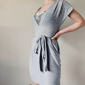 Wilfred   Grey Warp V-Neck Dress